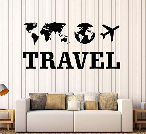 Large Wall Art Traveler Tourist Agency Travel Room Decoration Decal ig4307 Black by WallStickers4ever