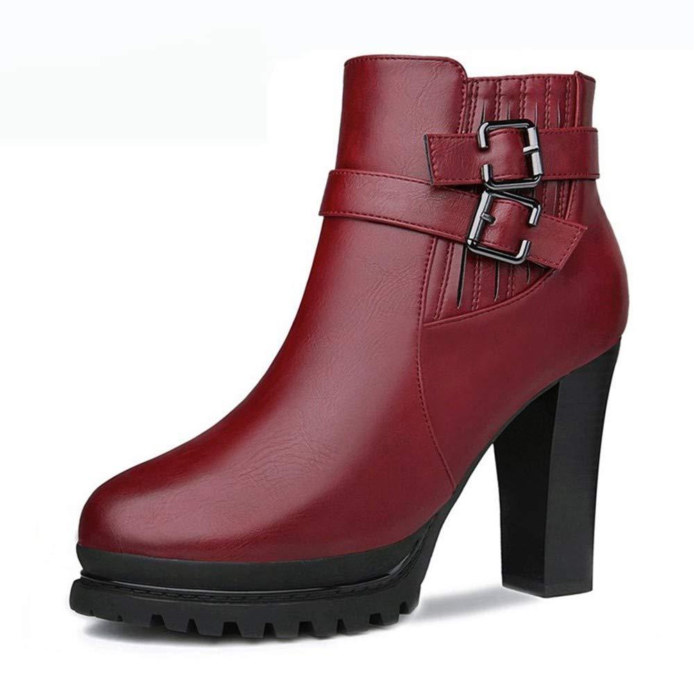PINGXIANNV Herbst Winter Frauen Stiefel High Heels Plattform Schnalle Reißverschluss Leder Kurze Stiefelies Damen Schuhe Martin Stiefel