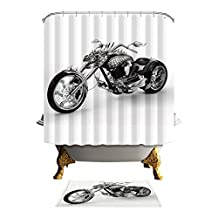 Antart Harley-Davidson Motor Shower Curtain 71x71 Inch and Matching Mat Set - Mildewproof Waterproof Polyester Fabric - Digital Printing - With 12 Hooks Accessories Bathroom - Cool Style
