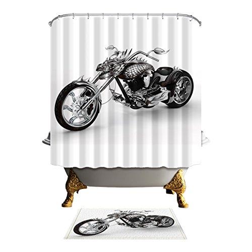 Antart Harley Davidson Motor Shower Curtain 71x71 Inch And Matching Mat Set