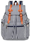 BLUBOON Canvas Laptop Backpack for Girls Bookbag Women Blue stripe Deal (Small Image)