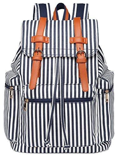 School Backpack Women Girls College Bookbag Lady Travel Rucksack 15.6Inch Laptop Bag (White Blue stripe)