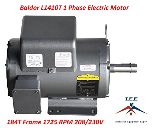 5 HP Single Phase Baldor Electric Compressor Motor 184T Frame # L1410T 230 (Single Phase Motor Amps)