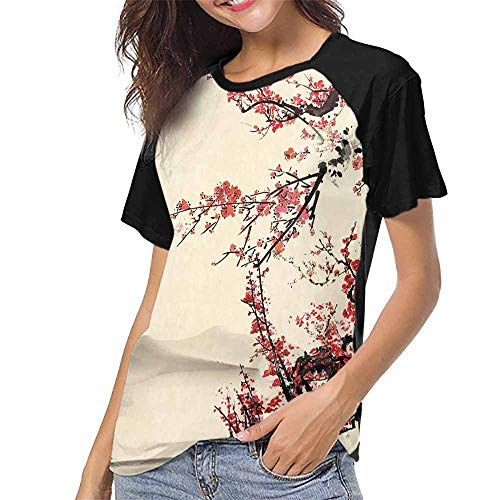 (Short Sleeve Blouse,Plum Blossom on White Background-Traditional Chinese Painting S-XXL Print Short Sleeve Baseball Ladies Tee )