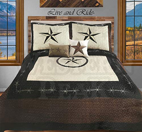 Western Peak 5 Pc Western Texas Cross Lodge Barbed Wire Quilt Bedspread Shams Pillow Oversize Comforter (Beige Star Rope, Queen)