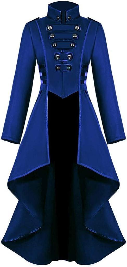 ESAILQ-Capa Mujeres góticas Steampunk Button Lace Corset Disfraz de Halloween Tail Jacket Prendas de Abrigo