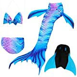 Das beste Girls Mermaid Tail Swimsuit with Monofin Girl's Mermaid Tail for Swimming,Colorful Swimmable Costume Cosplay Princess Swimwear Bikini Set Bathing Suit Set with Mono Fin Four Pcs