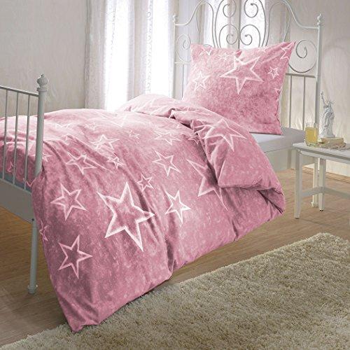 Bettwaren-Shop Sterne Bettwäsche Rosenquarz 155x220 cm + 80x80 cm