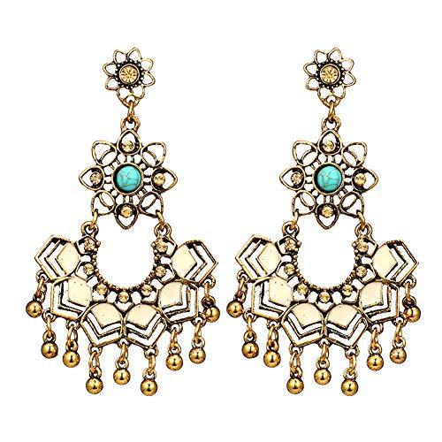 Demarkt Vintage Geometric Flower Earrings Cutout Turquoise Earrings Ball Long Earrings Stud -
