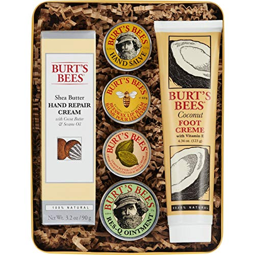 (Burt's Bees Classics Gift Set, 6 Products in Giftable Tin - Cuticle Cream, Hand Salve, Lip Balm, Res-Q Ointment, Hand Repair Cream and Foot)