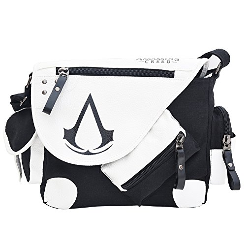 Barbariol Assassin's Creed Canvas Shoulder Bag,Anime Style Cosplay Message Sling Bag (white)