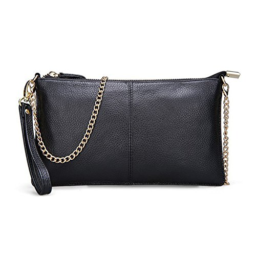 Bag Real Bags Gift Black Handbags Shoulder Clutch Girl Women Ladies Small Classic Soft Cowskin Leather Evening Chain Party Genuine CyX6wFgqB