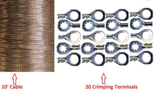 round Strap Cable+ Do-It-Yourself Terminal Kit. Braided Wire (Ground Wire Strap Kit)
