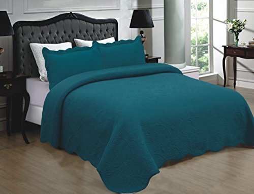 Mk Collection 3pc Quilted bedspread Embroidery Solid 100% Cotton New (California King, Turqouise)