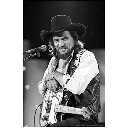 (Waylon Jennings 8 Inch x10 Inch Photo Dukes of Hazzard Title Song B&W at Mic Holding Guitar Smiling kn)