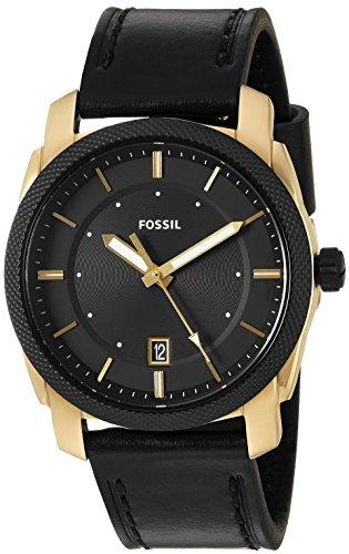 Fossil Men's FS5263 Machine Three-Hand Date Black Leather Watch