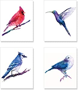 Bird Art Prints, Bird Watercolor Painting Wall Art Set of 4 Unframed 8x10 inches