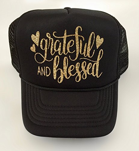 Black Cap, Women's Trucker Hat Grateful and Blessed Gold Script lettering, by It's Crystalicious