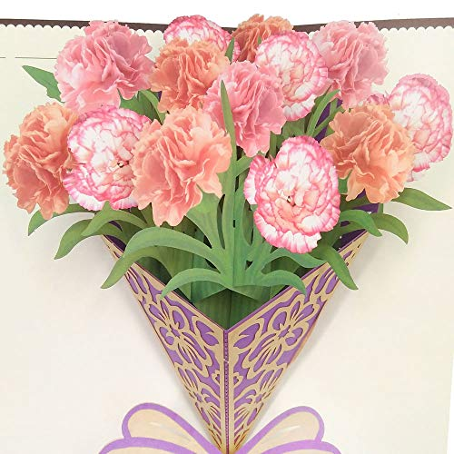 Mothers Day 3D Pop Up Greeting Card - Carnation Bouquet DIY Pop Up Thank You Cards for Mom Fantastic Flower Handmade Gift Card Party Favor, Birthday Anniversary Invitation Wedding Love Gifts