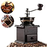 Raza Grinding Machine Mini Manual Coffee Flour Mill Wood Stand Bowl Antique Hand Coffee Bean Grinder Vintage Crank