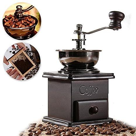 Raza de molienda máquina Mini molino de café manual madera soporte, cuenco antiguo mano molinillo de granos de café Vintage Manivela: Amazon.es: Hogar