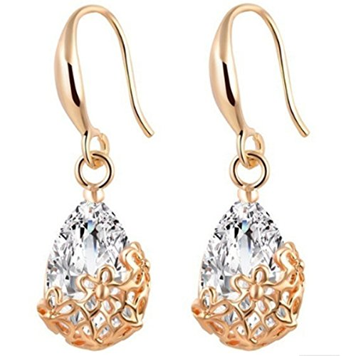 (Meolin Vintage Water Drops Crystals Inlay Filigree Flower Dangle Earrings for)