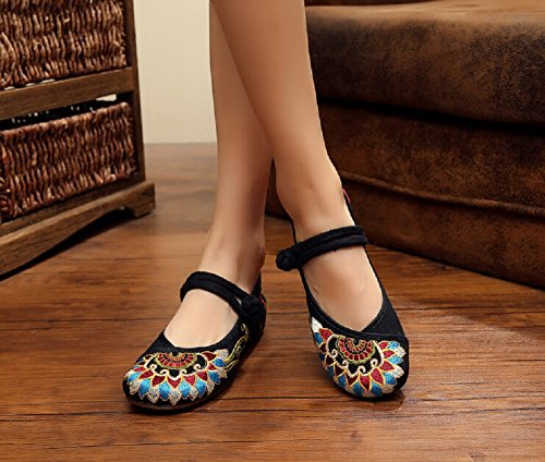 Shoes Flats Style Chinese Mary Embroidery Lazutom Casual Vintage Janes Women wqR0ExHvnY
