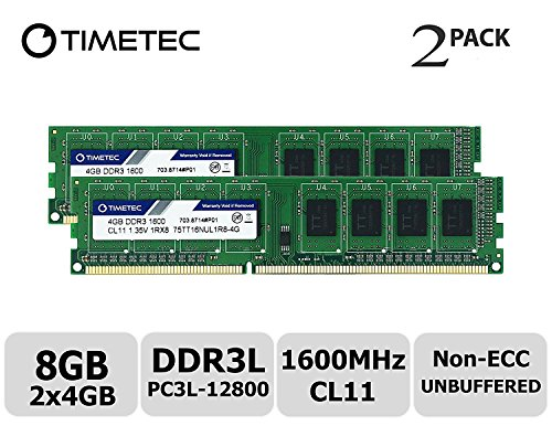 (Timetec Hynix IC 8GB Kit (2x4GB) DDR3L 1600MHz PC3L-12800 Non ECC Unbuffered 1.35V/1.5V CL11 1Rx8 Single Rank 240 Pin UDIMM Desktop PC Computer Memory Ram Module Upgrade (High Density 8GB Kit (2x4GB)))