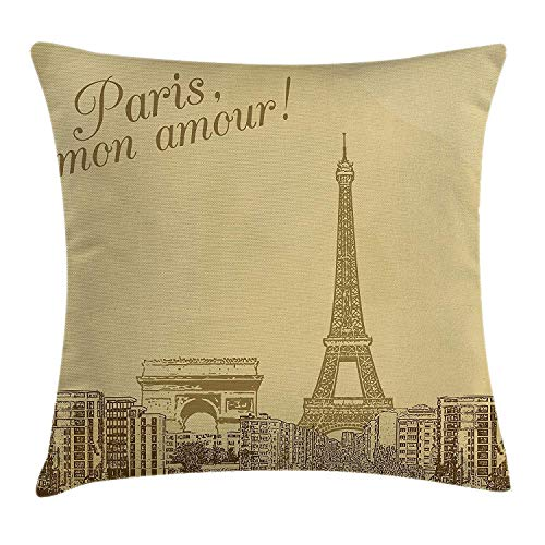 MHKLTA Paris Throw Pillow Cushion Cover, Retro Scenery of Paris with Vintage Colors Eiffel Tower Love City Classic, Decorative Square Accent Pillow Case, 18 X 18 inches, Camel Green -