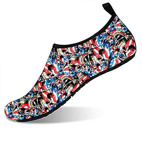 Water Sports Shoes Barefoot Quick-Dry Aqua Yoga Socks Slip-on for Men Women American Barbwire Skulls 8.5-9.5 M US Women / 7.5-8.5 M US Men