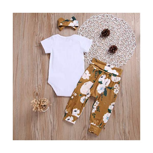 3 PCS Bambina Completini e Coordinati Neonata Top + Pantaloni + Headband Prima Infanzia Abbigliamento 7