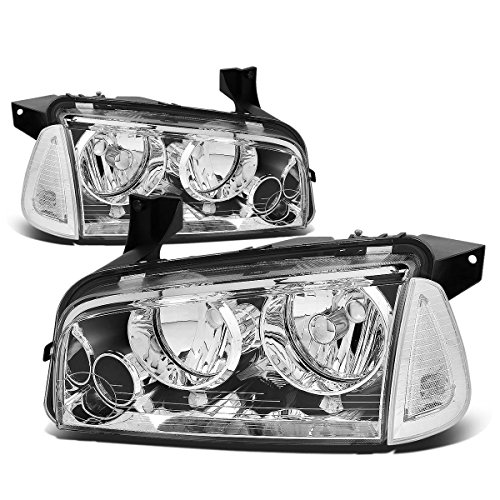 For Dodge Charger LX 4pcs Chrome Housing Clear Lens Headlight+Corner Signal Lamp