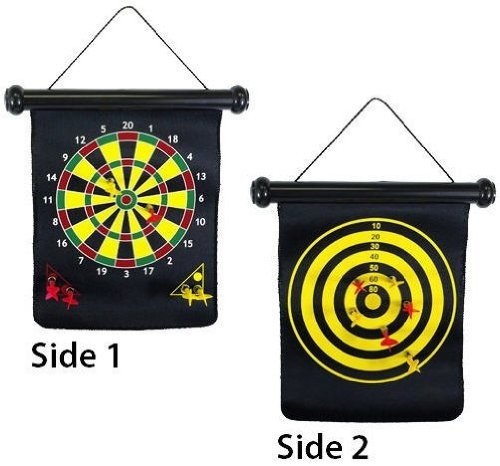 Reversible Magnetic Board Dartboard & Safe Darts Set w/two sides Family Fun 2-in-1 w/ Bullseye Game