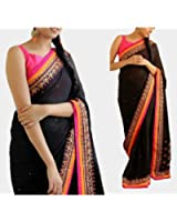Jhtex Fashion Women's Clothing Black Georgette Saree With Blouse Party Wear Saree & Diwali Special Saree