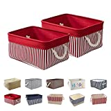 Queenie 2 Pack Collapsible Fabric Storage Basket Home Organizer Available in Different Colors and sizes (Solid Red & Red Stripe, 30 x 20 x 13 cm (11.75 x 8 x 5 Inch))