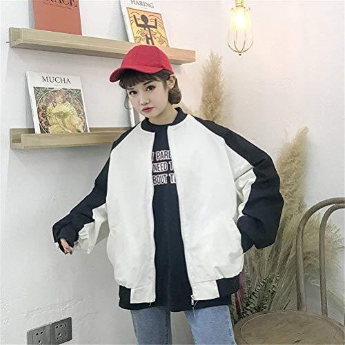 Blanco Coat College Mujer Relaxed Larga Chaqueta Zip Casual Bomber Chaqueta Manga Abrigos Chaquetas Fashion Patchwork Niña Otoño Piloto fTwwSqg