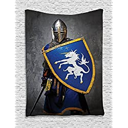Ambesonne Medieval Decor Collection, Medieval Knight Holding Shield and Sword Aged History Rusty Design Artwork, Bedroom Living Room Dorm Wall Hanging Tapestry, Navy Blue Yellow Grey
