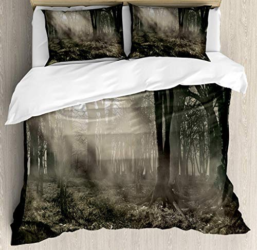 Gothic Duvet Cover Set Queen Size, Photo of Dark Forest Scenery with Sunbeams and Fog Vintage Nostalgic Colors Fantasy Art, Decorative 3 Piece Bedding Set with 2 Pillow Shams, Brown]()
