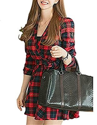 Robert Reyna Pretty Women's Long Sleeve V-neck Grid Checkered Red Plaid Shirt Dress With Belt