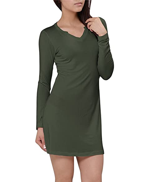 036cc6f822 Kalvon-Fu Women s Modal V-Neck Long Sleeve Sleep Dress Nightshirt at ...