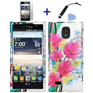 Bloutina 4 items Combo: ITUFFY (TM) Mini Stylus Pen + LCD Screen Protector Film + Case Opener + Silver Pink Blossom Flower...
