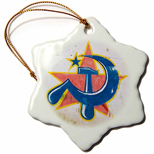 3dRose Danita Delimont - Communism - Symbol of Communist Party, Kochi, Kerala, -AS10 KSU0315 - Keren Su - 3 inch Snowflake Porcelain Ornament (orn_71315_1) (Communist Ornaments Christmas)
