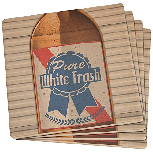 4th of July Halloween Pure White Trash Beer Set of 4 Square Sandstone Art Coasters Multi Standard One -