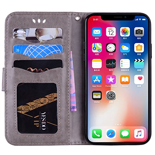 Wallet Leather Case for iPhone X,Stand Flip Case for iPhone X,Herzzer Bookstyle Stylish Glitter Bling Pretty Mandala Flower Pattern Magnetic Card Holders PU Leather Case with Soft Inner - Gold Color #1