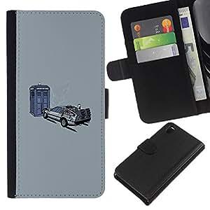 EJOY---Tirón de la caja Cartera de cuero con ranuras para tarjetas / Sony Xperia Z3 D6603 / --Back To The Futur Tiempo de Viaje