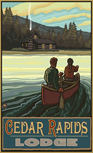 Northwest Art Mall PAL-5944 LKCH Cedar Rapids Lodge Minnesota Lake Canoers Hills Print by Artist Paul A. Lanquist, 11