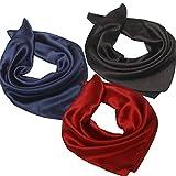 Satin Square Head Scarf Headscarf – 3 Packs Navy Red Black Metallic Glitter Silk Women Neck Neckerchief Hair Sleeping Bag Scarfs Wrap, Soft Fashion For Spring Summer