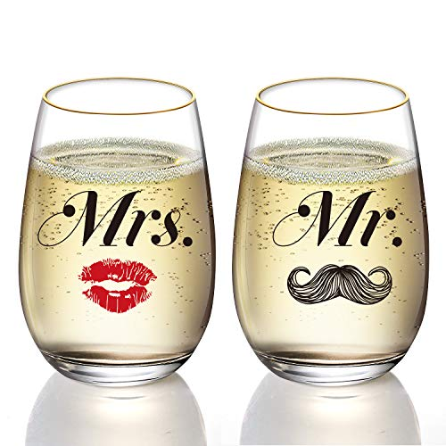 Customized 24K Gold Mustache and Lips Mr and Mrs Wine Glass Set, Stemless Wine Glasses, Wedding Gift, Engagement Gift, Anniversary Gift, Bridal Shower Gift(2 pcs)