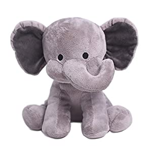 HollyHOME Stuffed Animal Toys Plush Toys Plush Elephant 10 Inches Grey