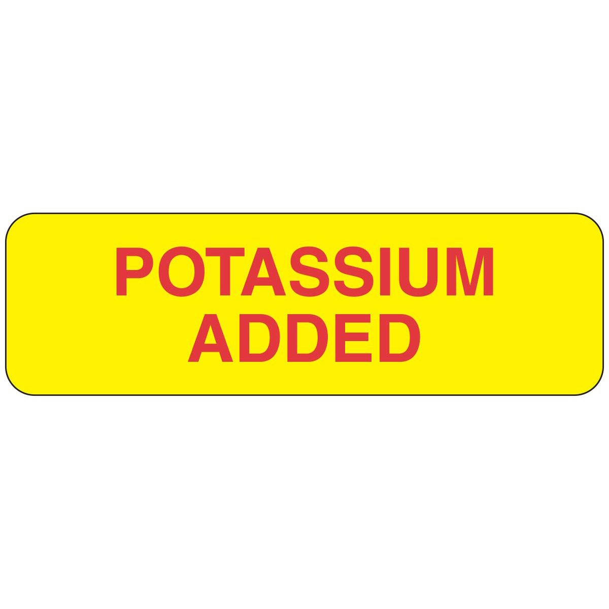 PDC Healthcare 59705846 Paper Label, Yellow Label with Black Text, ''Potassium Added'', 2.875'' Width x 0.875'' Length (Roll of 1000)